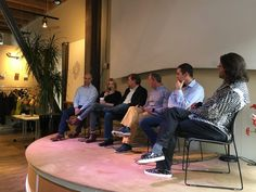 Panelists at the Pioneer Square Labs one-year anniversary event in Seattle. From left to right: Aaron Easterly, Sarah Bird, Scott Moore, Dan Shapiro and moderator Brad Feld.
