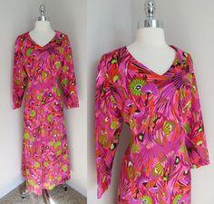 70s Hot Pink, Purple & Green Home Tailored Hostess Dress Flower Print Maxi L #Handmade