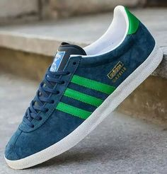 huge selection of 66540 49edb Here is a look at another release of the adidas Gazelle OG hitting shops  this season. The classic low tops are fitted in dark blue suede with green  leather