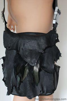Noir cuir besace CHRISST 4 LIFE avant-gardiste par Chrisst4life
