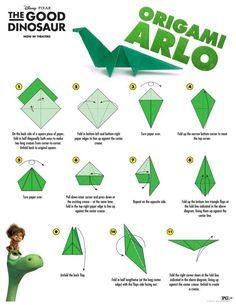 Disney The Good Dinosaur Arlo Origami Craft Instructions Cute Origami, Kids Origami, Origami Animals, Origami Paper, Oragami, Dollar Origami, Dinosaur Activities, Dinosaur Crafts, Dinosaur Party