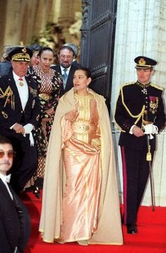 WEDDING OF PHILIPPE AND MATHILDE  Princess Lalla Hasna of Morocco leaving St Michel Ste Gudule Cathedral.