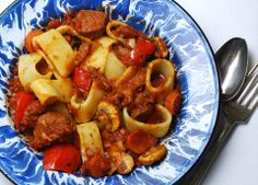 Beef and Pork Red-Sauce-Ragu - slow cooked with 1/2 bottle red wine, carrots mushrooms garlic and red peppers
