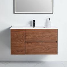 "Ivy Bronx Hocking 40"" Wall-Mounted Single Bathroom Vanity Set | Wayfair Drainage Installation, Toilet Sink, Mirror Backsplash, Ceramic Sink, Grey Oak, Single Bathroom Vanity, Cabinet Handles, Vanity Set, Double Vanity"