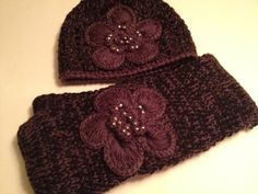 Flower Bling Power crotchet hat and scarf . $40.00, via Etsy.