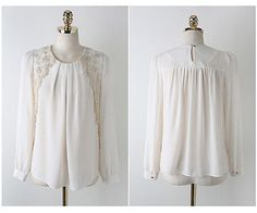 NEW2016 Women White Long Sleeve Embroidered Chiffon Casual Tops Blouse Shirt FV