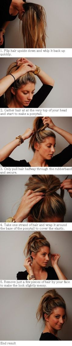 How to Style Messy Bun-Ponytail Hybrid,This is like, the best hairstyle for the gym. You dont want your ponytail whipping around at you while - See more at Summer Hairstyles, Messy Hairstyles, Pretty Hairstyles, Creative Hairstyles, Stylish Hairstyles, Style Hairstyle, Updo Hairstyle, Latest Hairstyles, Vintage Hairstyles