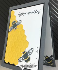 "Very cute ""honeycomb"" with bees card using the Hexagons embossing folder and Dragonfly Dreams stamp set from Stampin' Up! by Kathleen Wingerson  www.kathleenstamps.com"