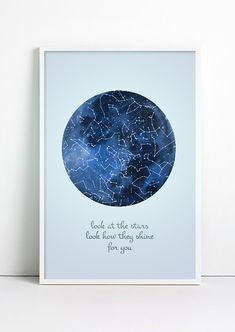 Galaxy Print Astronomy Poster Moon Constellation Print by Fybur