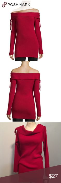 By & ByLong Sleeve ,Straight Neck Pullover Sweater Bold red tunic sweater . Fits classic . Fitted sleeves . Straight neckline .55% cotton, 25^ rayon ,20% polyester. Length is 27 inches . Underarm to underarm is 141/4 . by & by Sweaters
