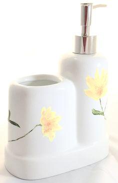 Porcelain Soap Dispenser Toothbrush Holder Yellow Flowers  http://handpainted-glasses.com/shop/yellowbrpiece
