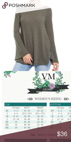 Bell-sleeve top Beautiful transition piece  Long bell sleeve in a gorgeous olive color  True to size  Cotton blend  Brushed knit Tops Tees - Long Sleeve