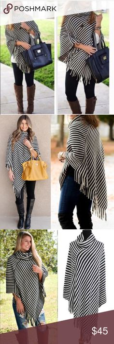 EMMALEE cowl neck poncho - BLACK/WHITE Striped asym hem poncho with fringe detail and cowl neck. Also available in burgundy. Super fun and stylish! 100% soft Acrylic   NO TRADE, PRICE FIRM Bellanblue Sweaters