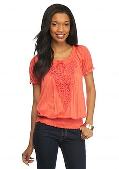 New Directions® Crinkle Peasant Applique Top