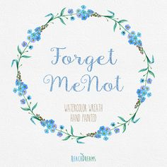 Watercolor Wreath with Forget Me Not Flowers. by ReachDreams