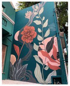 Mural Floral, Flower Mural, Flower Wall, Flower Graffiti, Mural Wall Art, Mural Painting, Wall Painting Flowers, Graffiti Wall Art, Door Murals