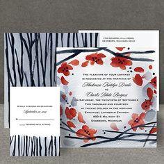 Floral Whimsy Frame - Barn Red - Invitation