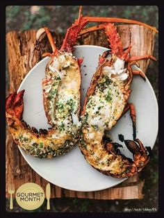 Grilled Lobster with Garlic-Parsley Butter- is it possible to get a food hard on? What is it about grilled lobster that just sends me gaga. Sorry this mine as well. What are you eating? Think Food, I Love Food, Food For Thought, Good Food, Yummy Food, Crazy Food, Tasty, Grilling Recipes, Cooking Recipes