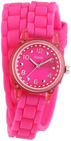 Guess - W65023L3 - Montre Femme - Quartz Analogique - Cadran Rouge -  Bracelet Caoutchouc Rose  Amazon.fr  Montres 49ba7798e6