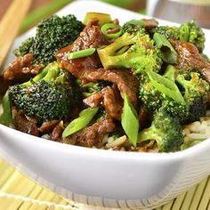 Never order Broccoli Beef takeout again! My copycat, gluten-free Lighter Broccoli Beef is easy to whip up and lower in fat/sugar! Healthy Beef Recipes, Asian Recipes, Healthy Dishes, Steak Recipes, Copycat Recipes, Healthy Meals, Clean Eating, Healthy Eating, Marinated Beef