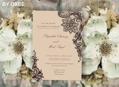 Printable Wedding invitation template Vintage brown lace by Oxee, $5.00