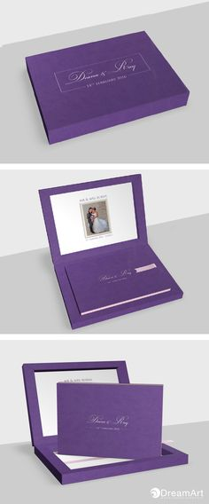 DreamArt Photography share this example of a @graphistudio Young Book. Special Thanks to Deana & Ray! #DreamArtPhotography #DreamArtWedding #WeddingBook #GraphiStudio #YoungBook - Book Size 40 x 30 cm. 40 Thick page with white luxe linings. Book Cover cloud leatherette purple. Ribbon Light Pink. Box Outside cloud leatherette purple, inside Cloud Touch White.