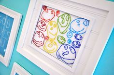 Colorful Child's Artwork - use child's drawing as a pattern for embroidery, then stitched it in rainbow colors