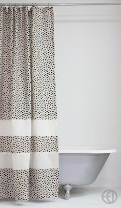 Extra Long White Stripe Fabric Shower Curtain With