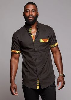 Tops - Dami Button-Up African Print Trim Shirt (Yellow/Green/Copper) African Shirts For Men, African Attire For Men, African Wear, African Style, African Theme, African Women, African American Fashion, African Print Fashion, Africa Fashion