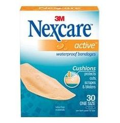 "Nexcare Active Waterproof Bandages (1 1/8"" x 3""): yes, spend the extra money for this brand. Flexible, stays on, does not retain water."