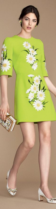 Lime green crepe dress with daisy embellishment and half sleeve | Naples, Florida Inspired Fashion