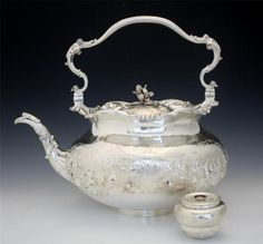Dated 1793 Storr Mortimer English Sterling Silver Teapot with Burner