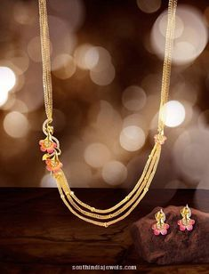 gold step chain necklace with side floral mogappu and earrings. For inquiries please contact Jewel one, 1800 103 Gold Earrings Designs, Gold Jewellery Design, Designer Jewellery, Gold Jewelry Simple, Amai, Jewelry Patterns, Wedding Jewelry, Beaded Jewelry, Jewelery