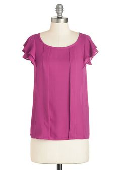 Time of Your Lively Top in Orchid - Mid-length, Woven, Pink, Solid, Ruffles, Work, Short Sleeves, Variation, Scoop, Pink, Short Sleeve