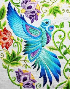 Hummingbird in hand embroidery, from The Secret Garden coloring book...step-by-step project on Needle 'n Thread