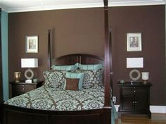 Blue and brown bedroom paint ideas color schemes wall master bedrooms home improvement inspiring bedr Tan Bedroom, Small Master Bedroom, Modern Bedroom, Bedroom Wall, Bedroom Decor, Bedroom Ideas, Bedroom Fun, Master Room, Master Bedrooms