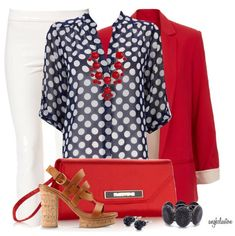 Red and Blue Outfit Combination With Cork Heels