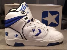 vintage nib nos converse cons erx 150 mens #80s shoes sneakers retro 9 white blue from $99.99 Tenis Basketball, 80s Shoes, Trainer Shoes, Retro 9, Shoe Designs, Converse Sneakers, Vintage Shoes, Shoe Game, Vintage Designs