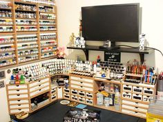 (Pictures taken by our clients) hobby room, hobby desk, hobby cnc, organiza Hobby Desk, Hobby Cnc, Painting Station, Layout, Home Workshop, Space Crafts, Model Trains, Room, Garage Storage