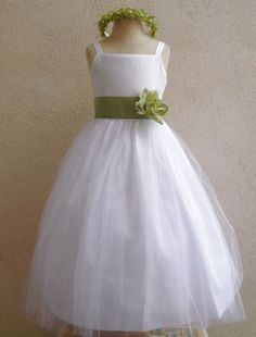 Nwt White/Sage Green Pageant Recital Prom Wedding Party Flower Girl Dress