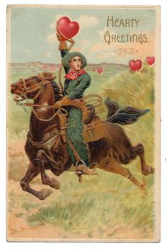 Valentine - Cowboy Rounds Up Hearts Roaming on the Prairie