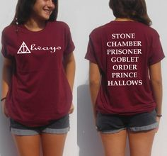 Always Harry potter shirt back and front deathly hallows book titles stone chamber prisoner goblet pothead nerd t shirt teens by FavoriTee on Etsy https://www.etsy.com/ca/listing/236328559/always-harry-potter-shirt-back-and-front