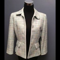 Tahari Arthur S. Levine blazer jacket This beautiful Tahari jacket by Arthur Levine is a six petite blue pink white yellow and green tweed in pastel with beautiful crystal-clear flower petal lasered buttons. This jacket is fully lined and perfect for year round styles. I truly versatile piece. Tahari  Aurthur S. Levine Jackets & Coats Blazers