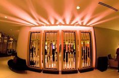 shadow boxes with mirror strips and back lighting. in this instance used as room divider for a corporate event. By J Patrick Designs Corporate Event Design, Social Events, Event Decor, Masquerade, Divider, Boxes, Mirror, Lighting, Room