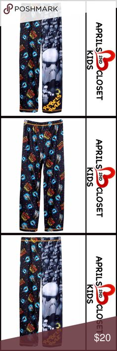 STAR WARS PJ PANTS Big Boys STAR WARS PJ PANTS Big Boys   SIZING: True to size, M = 8 COLOR: black  ABOUT THIS ITEM * Elastic waist * Allover graphic print  * Soft & lightweight * Consumer product safety approved * Machine wash  MATERIAL 100% polyester  ❌NO TRADES❌ ✅BUNDLE DISCOUNTS ✅ OFFERS CONSIDERED (Via the offer button only) Item:  SEARCH WORDS # Stormtrooper Komar Kids Pajamas Pajama Bottoms