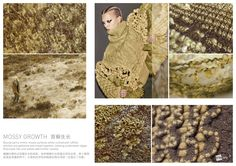 SPINEXPLORE - Biomimicry Trend - Mossy Growth - Boucle yarns mimic mossy surfaces, ruched and ruffled stitches are gathered evoking water algae. Trend fashion knitwear