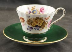 AYNSLEY Fine Bone China Cup and Saucers FLOWERS on Green by RarebirdAntiques on Etsy