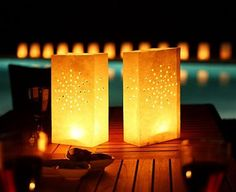 Luminarias for winter... could do snowflakes on white bags...