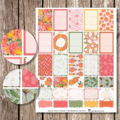 MAMBI Planner Stickers, Floral Planner Stickers, Printable Weekly Kit, Floral Planner, Red Green Pink Orange Create 365 Planner Digital Stickers Download Pdf HP103
