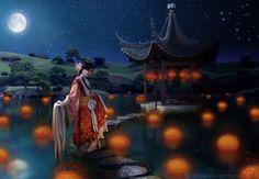Celebration of the red dragon - fantasy, oriental, geisha, night, lady, lights, lake, lamps, path, house, moon